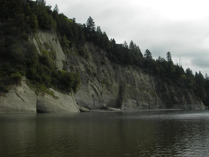 Sandstone bluffs of the Wildcat Group provided the sounding board (read: echo) for the cursing and swearing that could be head along the river this afternoon.  Note the small hole near the center of the bluff - a drain hole for the railroad tunnel that passes through.
